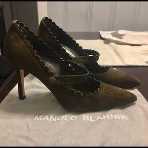 Manolo Blahnik Shoes - Manolo Blahnik size 6 Mary Jane. Olive green